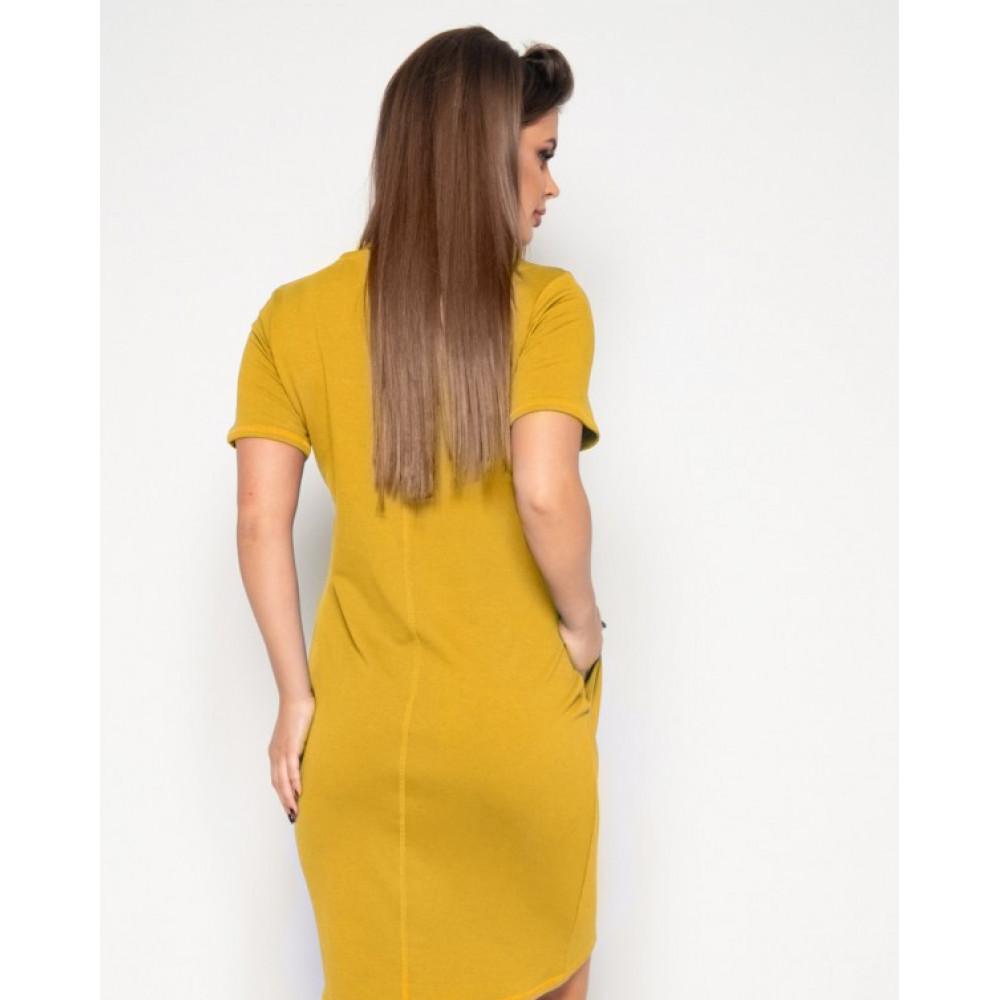 Горчичное платье-футболка из трикотажа фото 3
