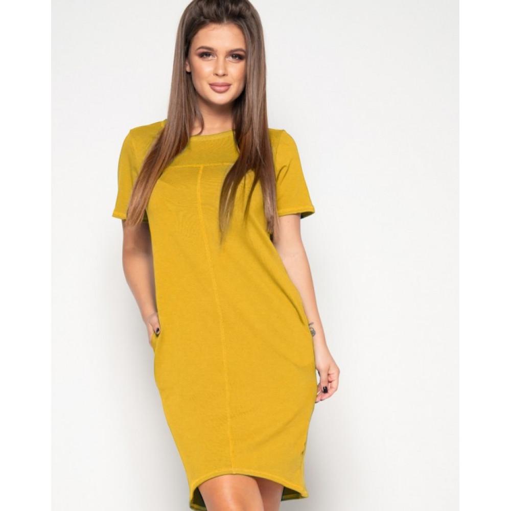 Горчичное платье-футболка из трикотажа фото 1
