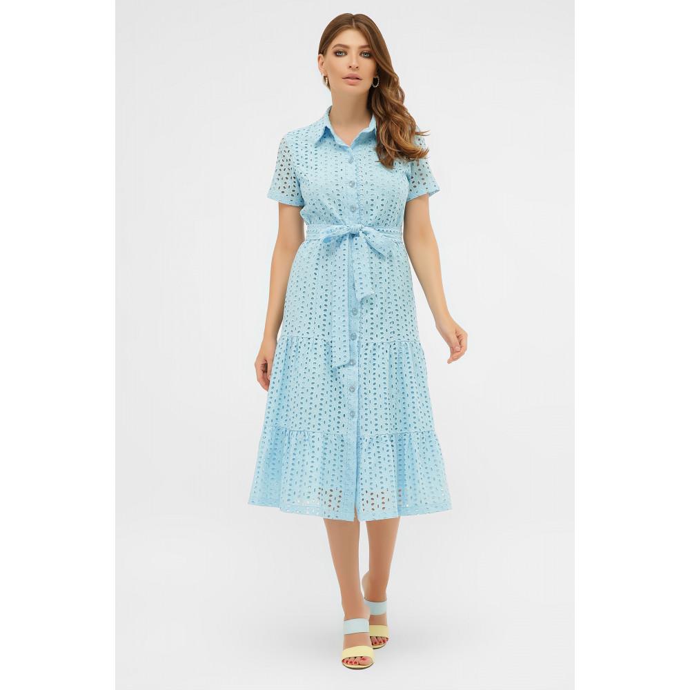 Красивое платье-рубашка из прошвы Уника фото 1