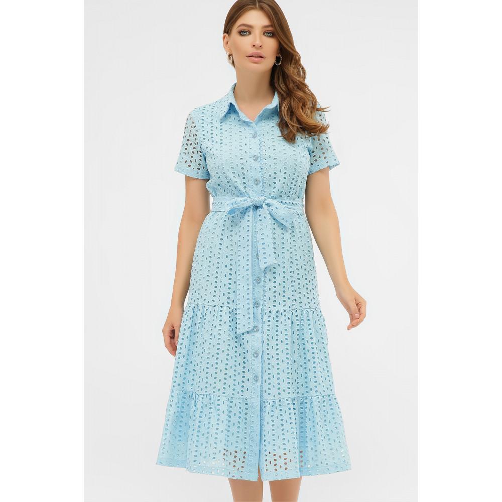Красивое платье-рубашка из прошвы Уника фото 2