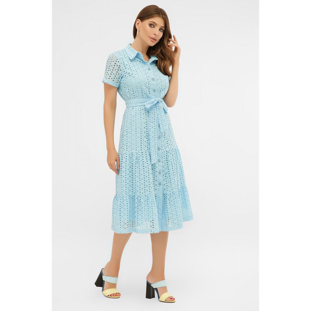 Красивое платье-рубашка из прошвы Уника фото 3