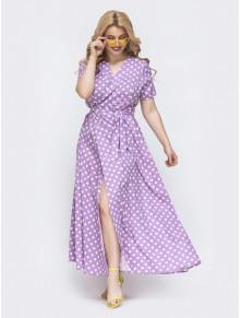 Лавандова сукня-максі на запах