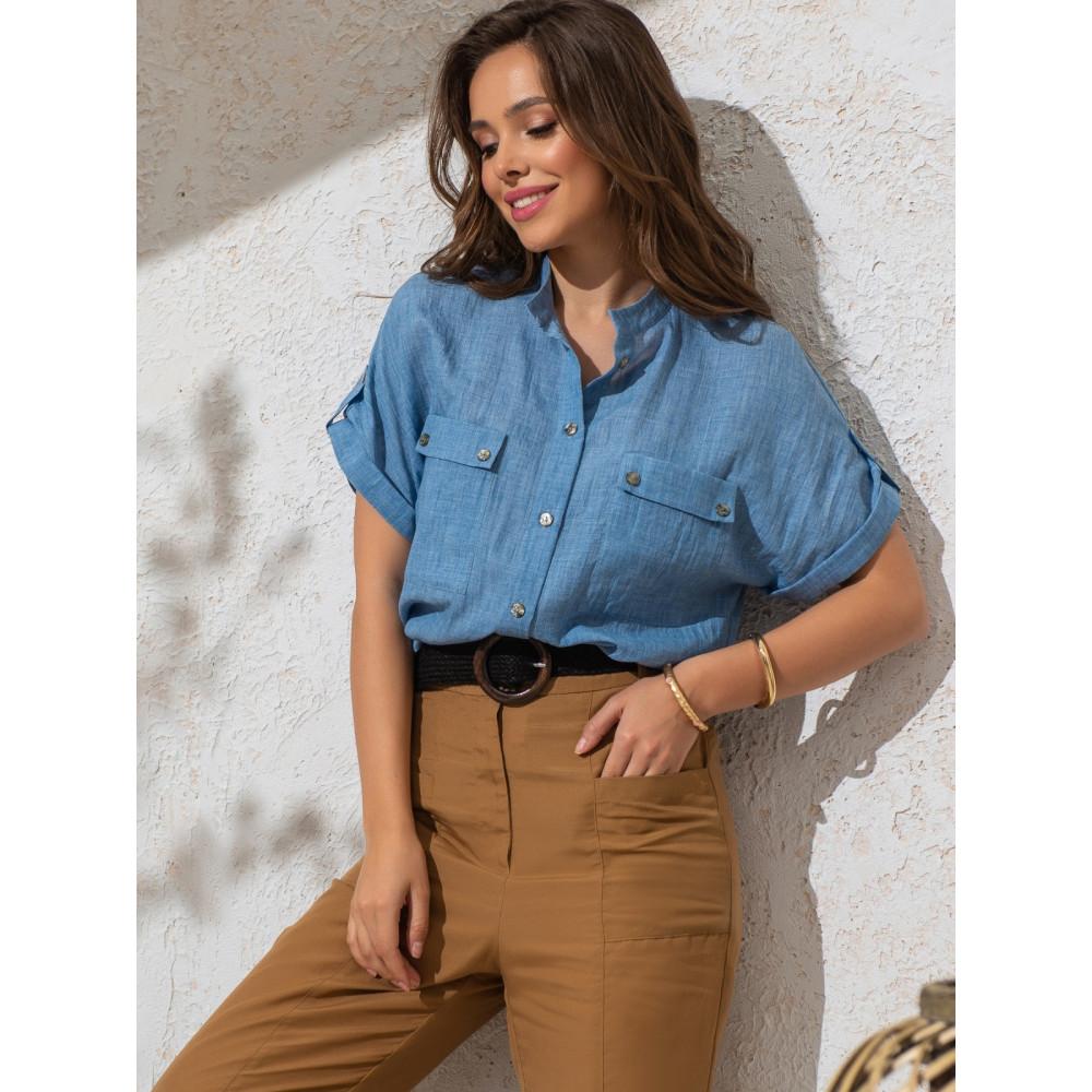 Лаконичная блузка прямого кроя из тонкого хлопка фото 1