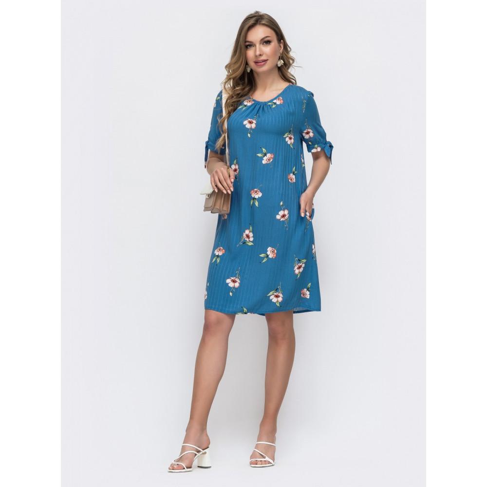 Женственное синее платье А-силуэта в цветы фото 1