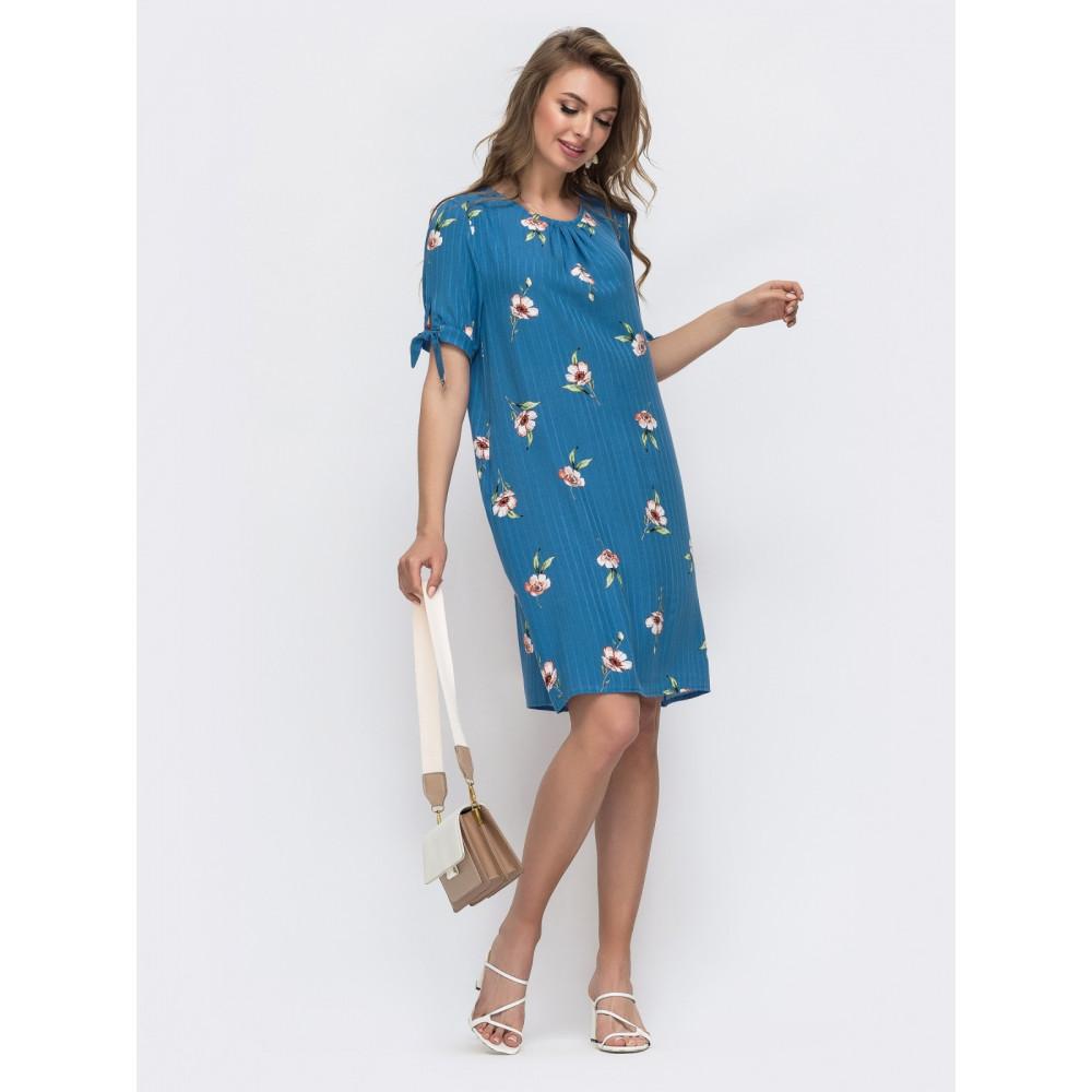 Женственное синее платье А-силуэта в цветы фото 2