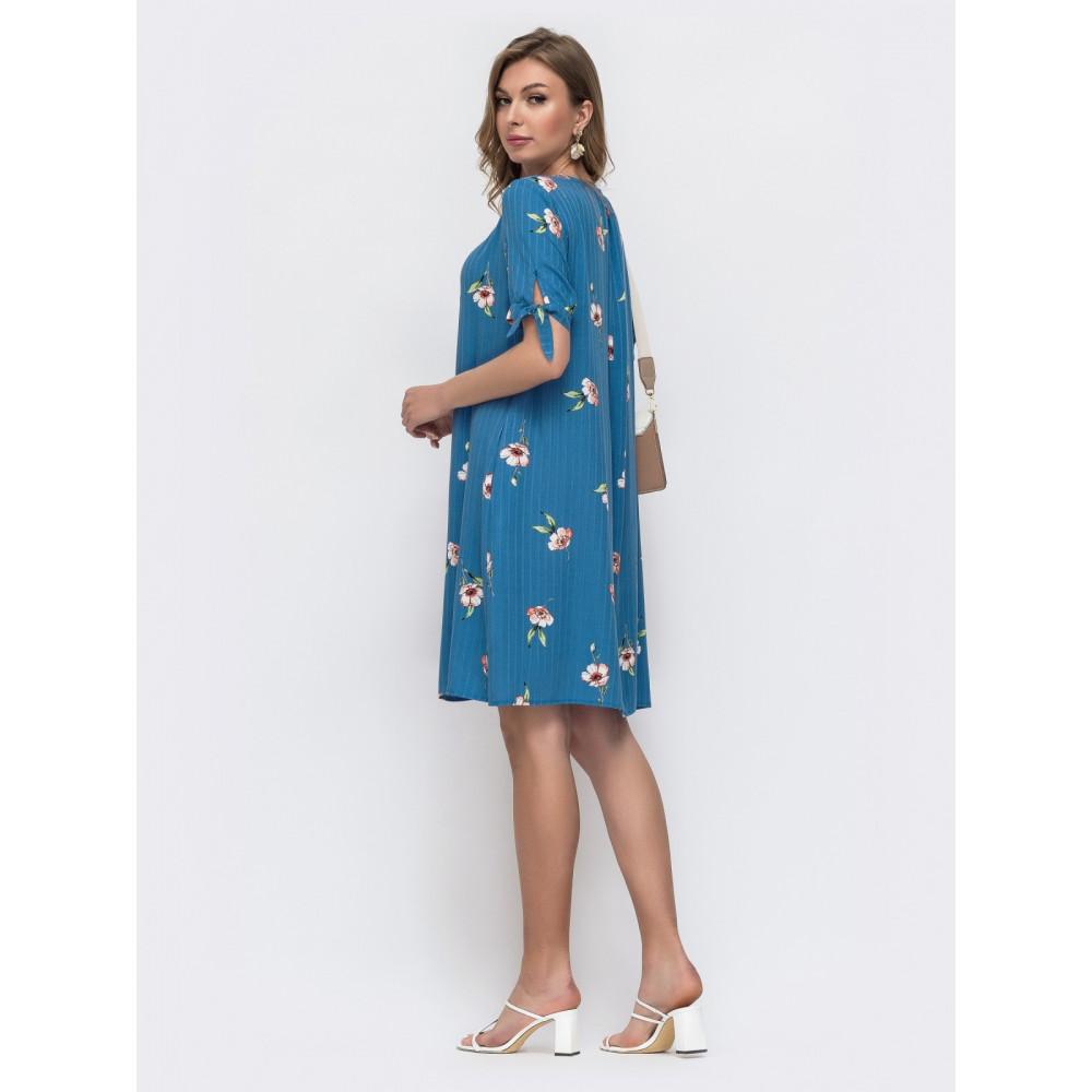 Женственное синее платье А-силуэта в цветы фото 3