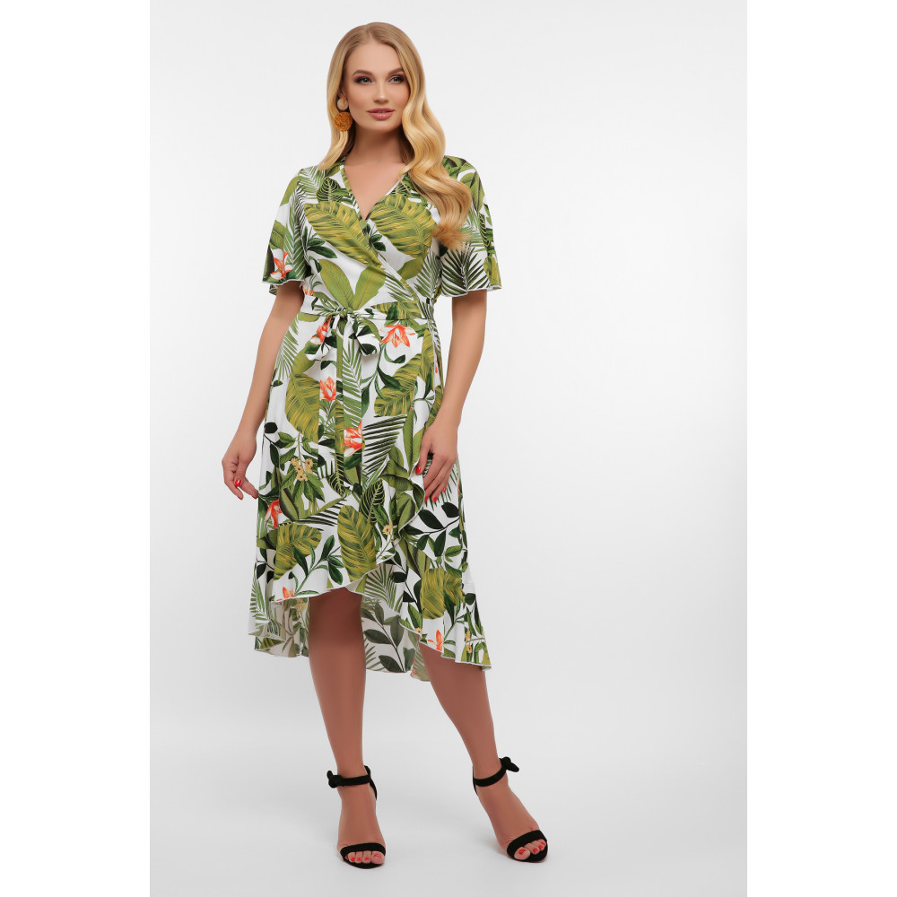Легкое летнее платье с растительным принтом Алесия фото 1