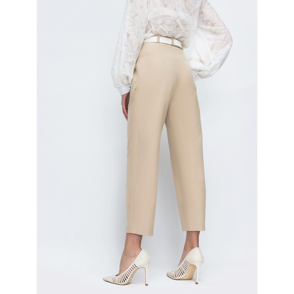 Бежевые брюки с высокой посадкой фото 2