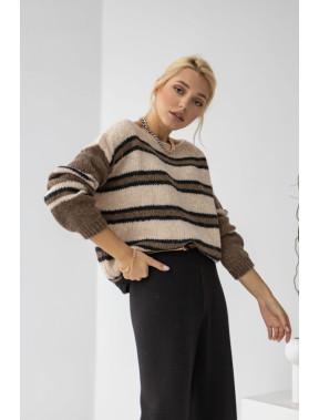 Шикарний вовняний светр в смужку