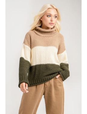 Вільний прямий светр у смужку