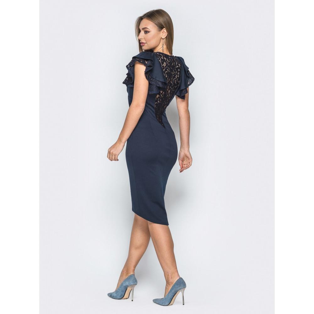 Коктейльное платье с кружевом на спинке фото 2