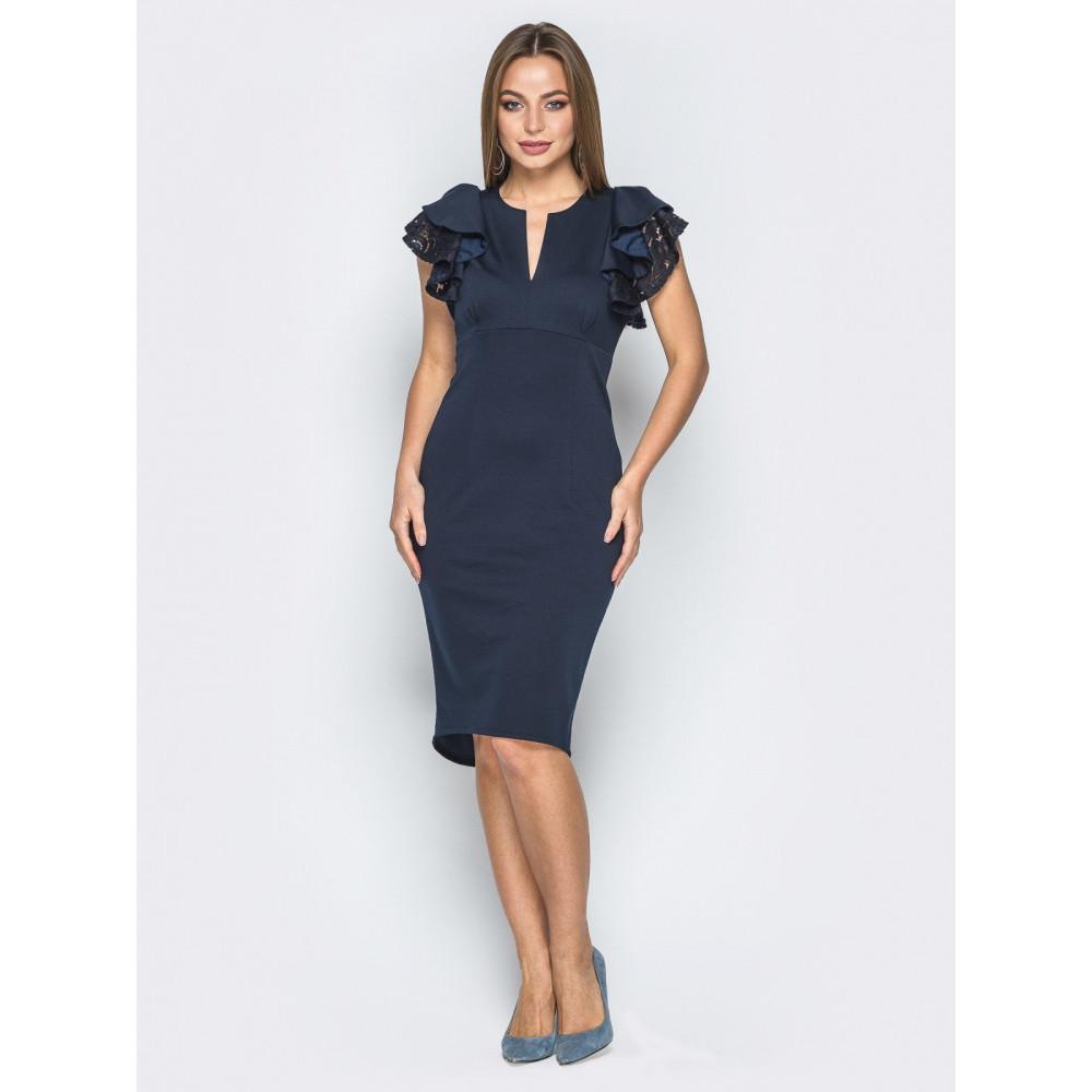 Коктейльное платье с кружевом на спинке фото 1