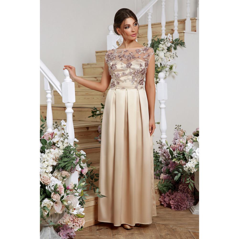 Нарядное бежевое платье Алевтина фото 1
