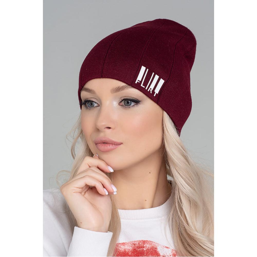 Бордовая шапка Вираж с надписью фото 1