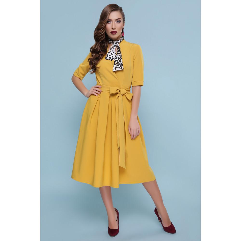 Оригинальное желтое платье-миди Ангелина фото 1