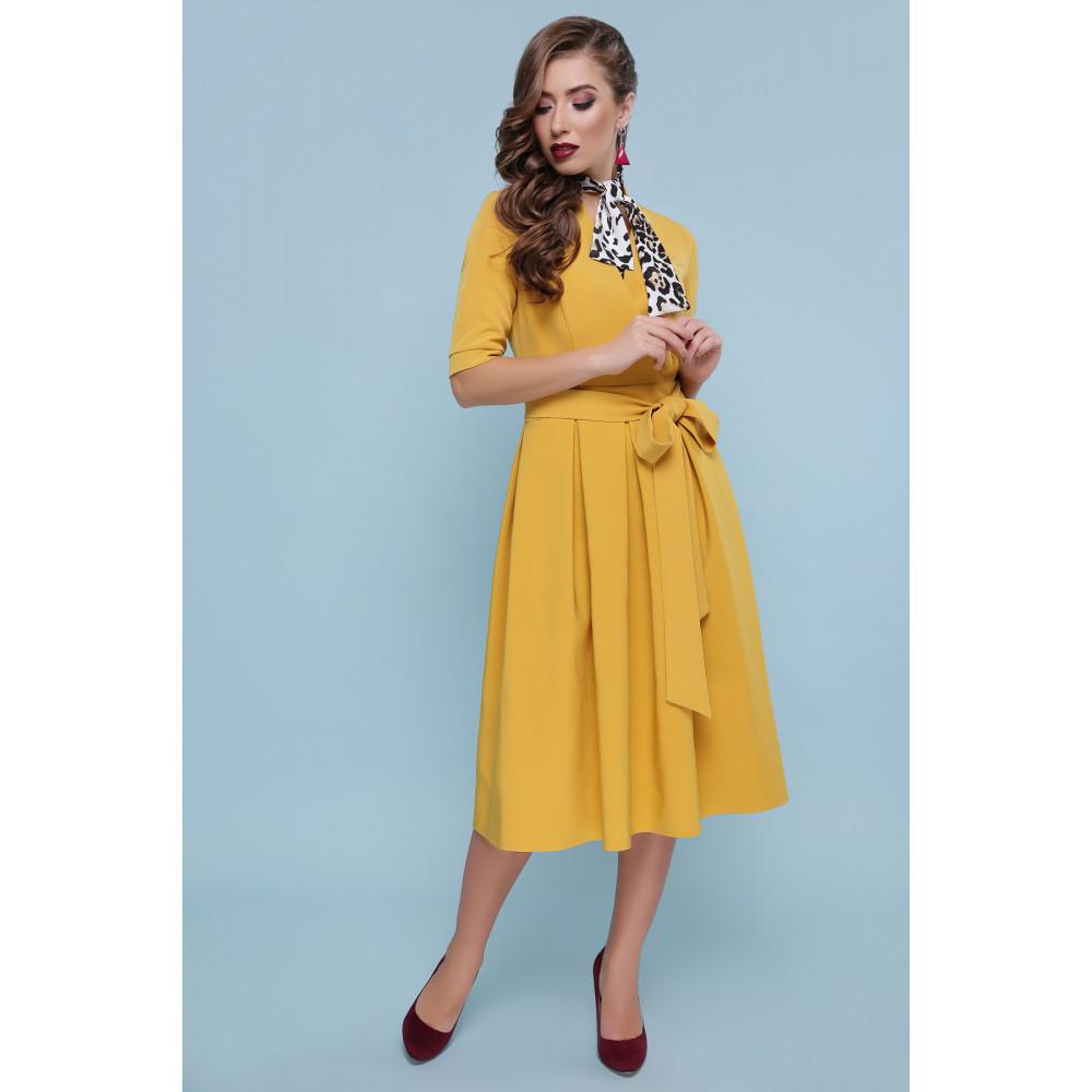 Оригинальное желтое платье-миди Ангелина фото 2