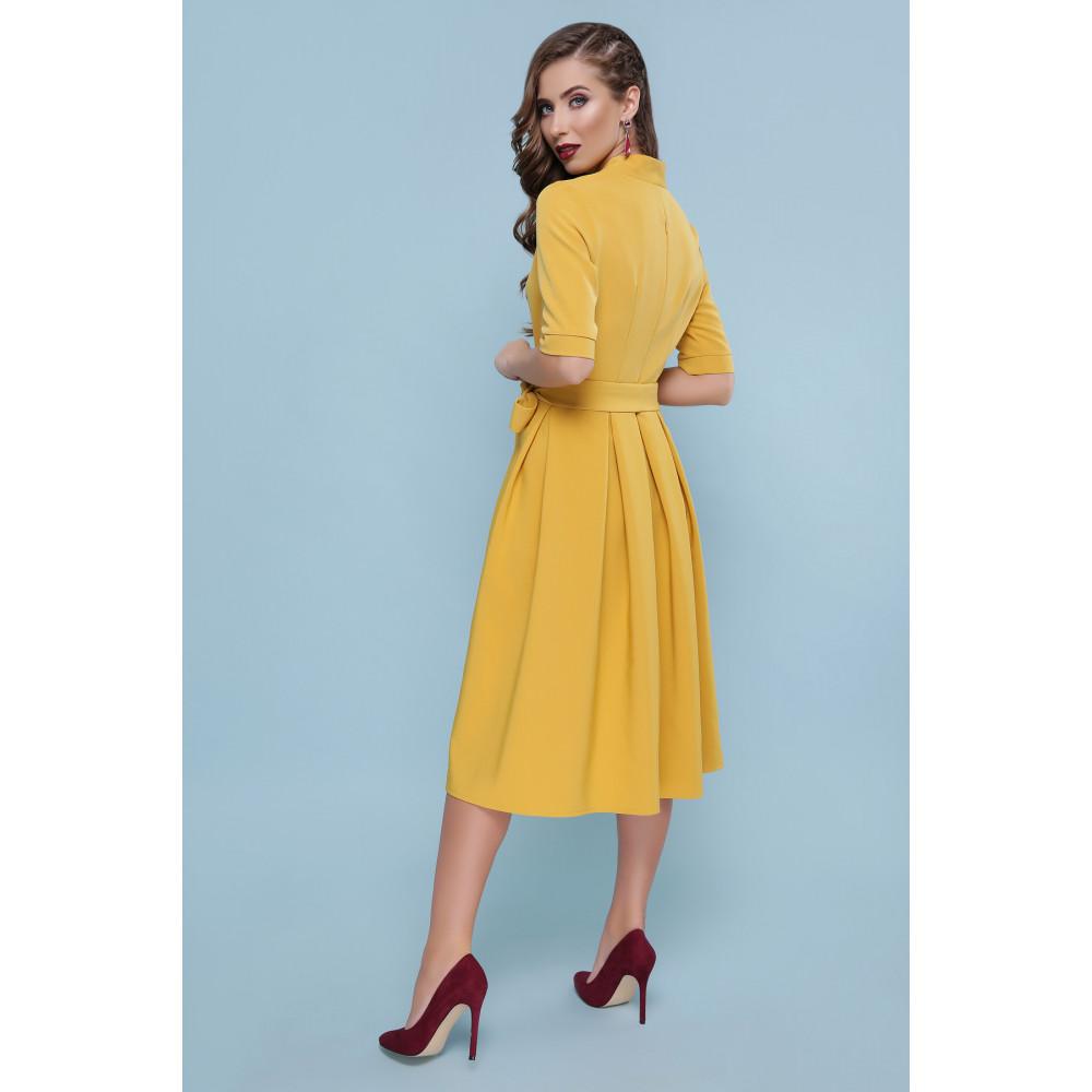Оригинальное желтое платье-миди Ангелина фото 3