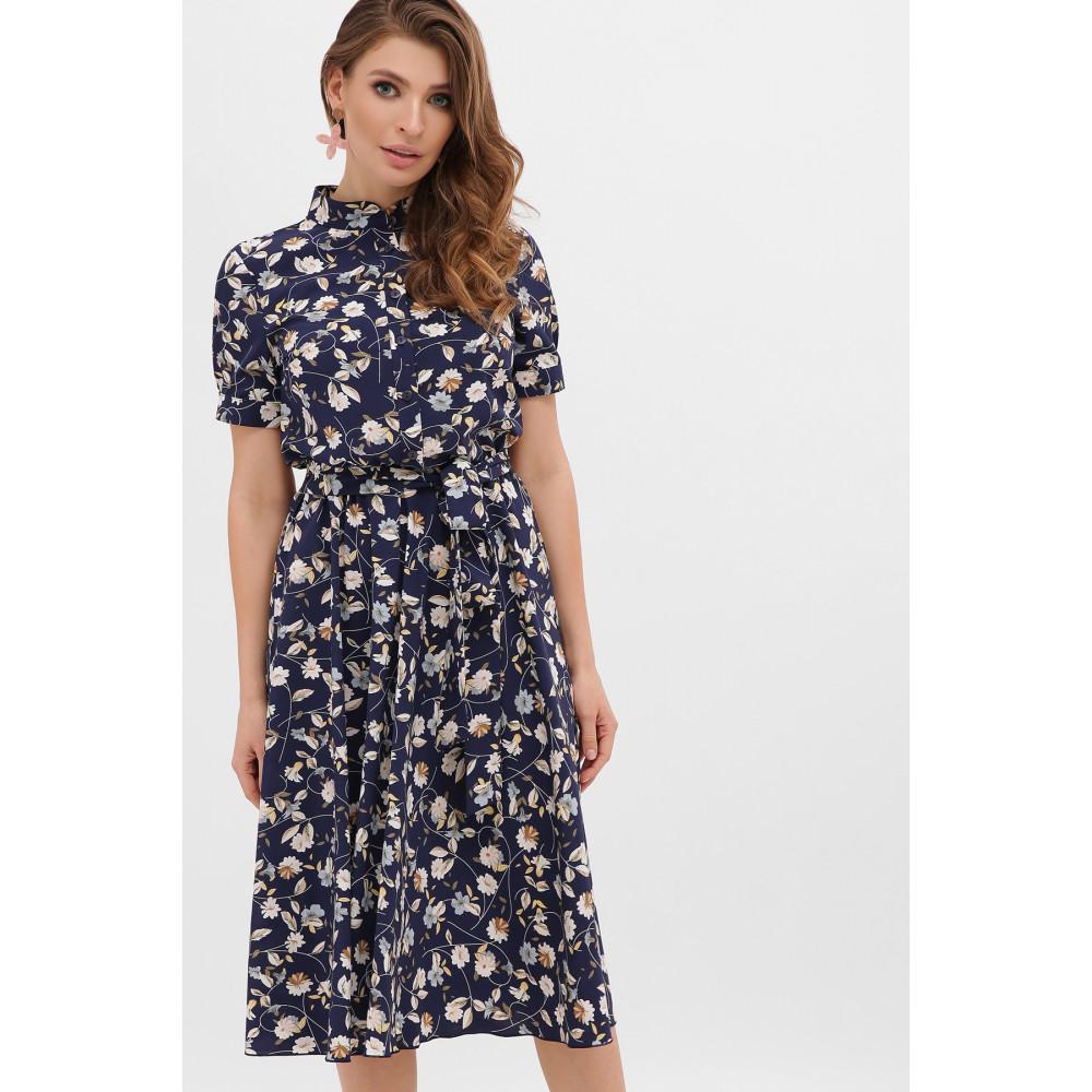 Стильное темно-синее платье в цветы Изольда фото 1