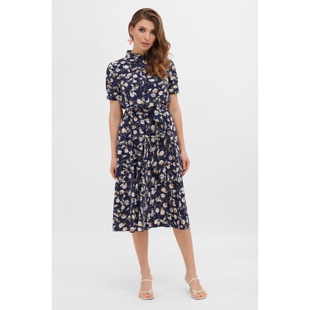 Стильное темно-синее платье в цветы Изольда фото 2