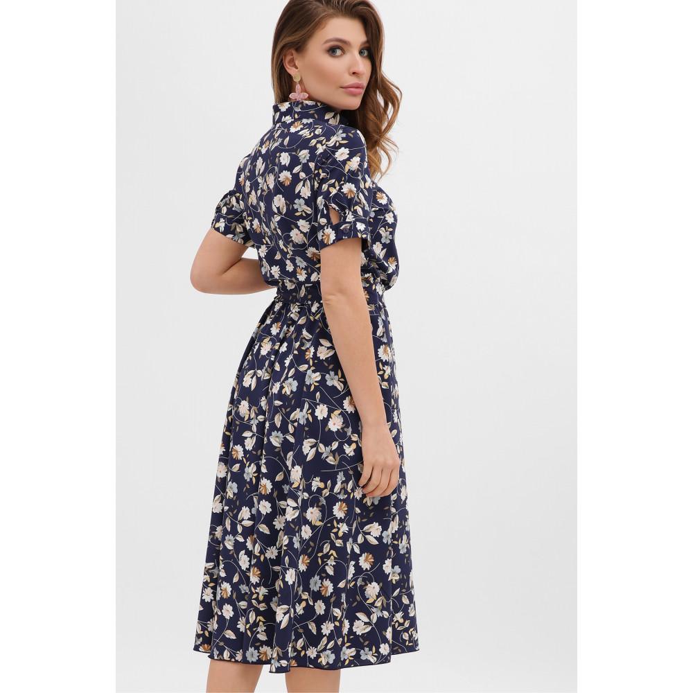 Стильное темно-синее платье в цветы Изольда фото 3