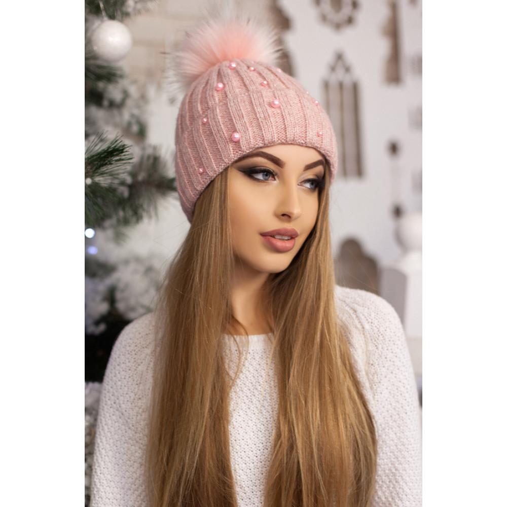 Нежно-розовая теплая шапка Модена фото 1