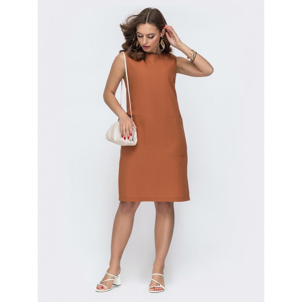 Базовое льняное платье прямого кроя фото 2