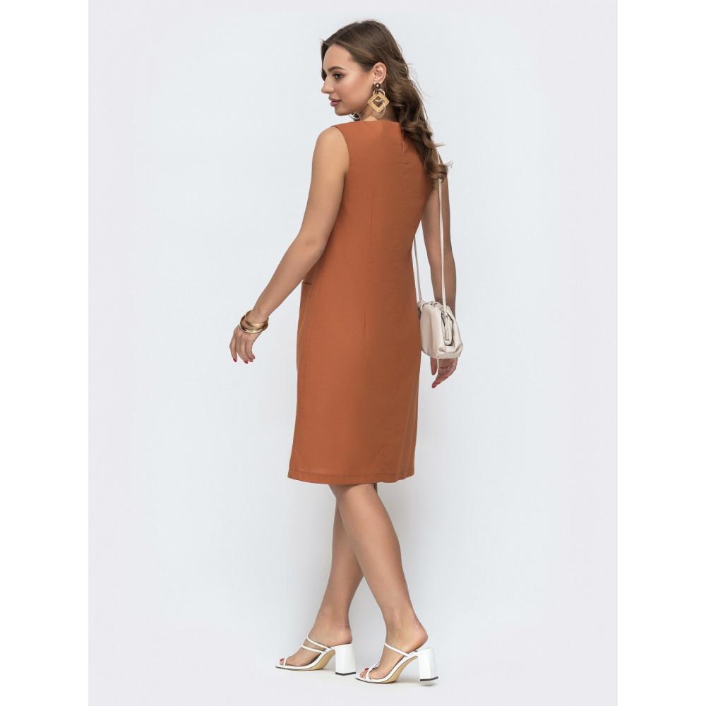 Базовое льняное платье прямого кроя фото 3