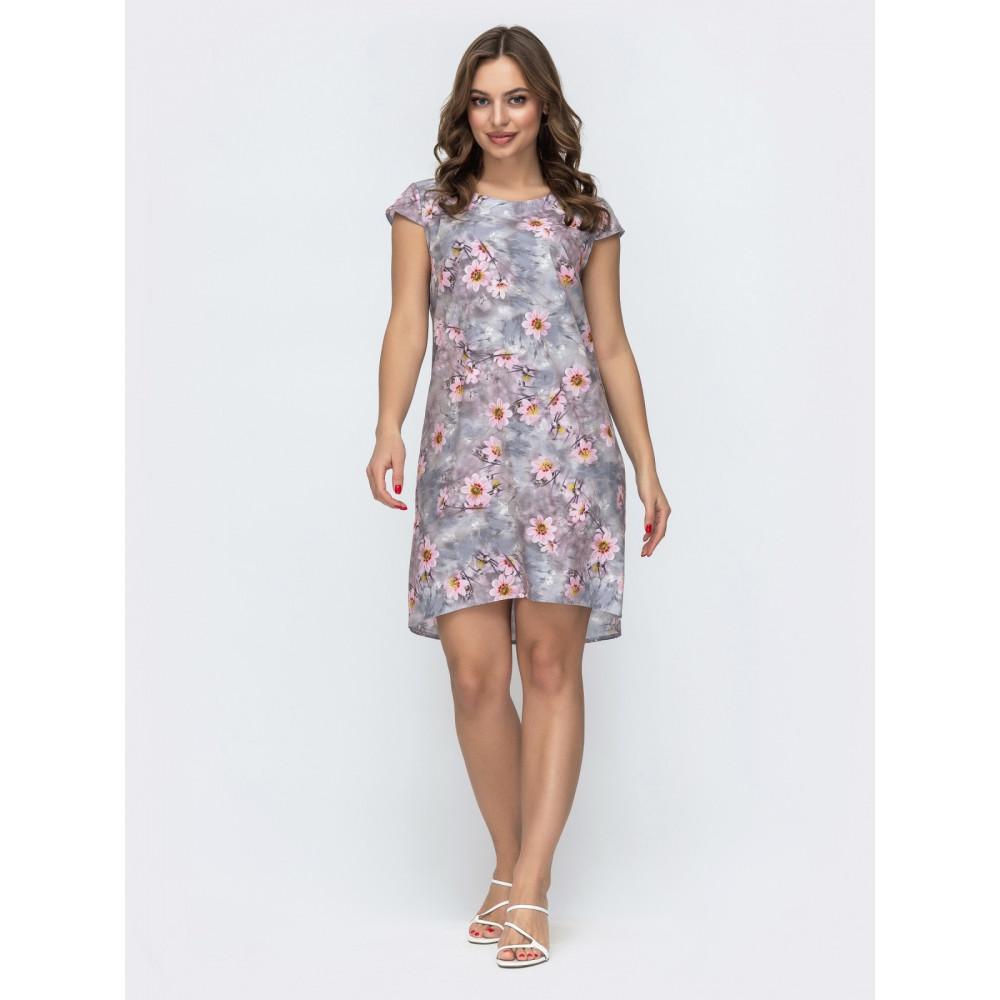 Кокетливое серое платье в нежные цветы Инга фото 1