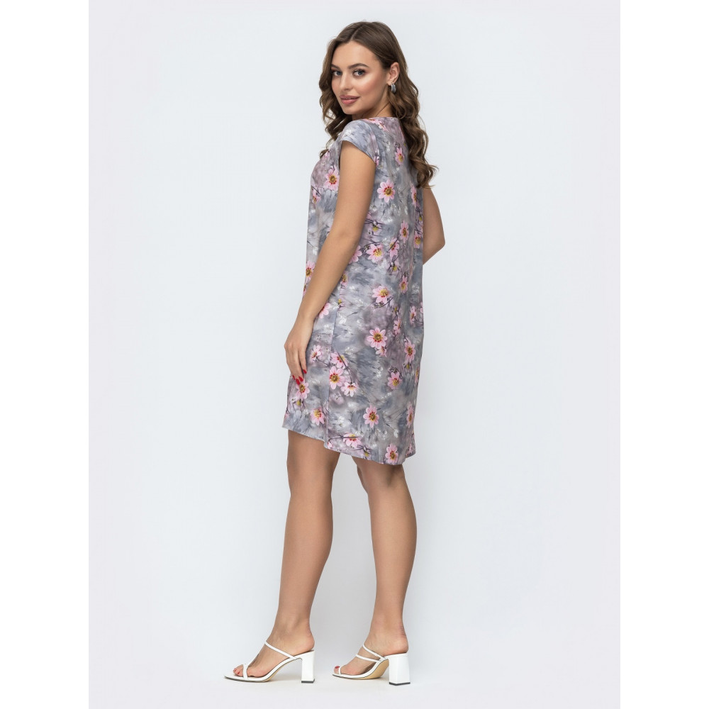 Кокетливое серое платье в нежные цветы Инга фото 2