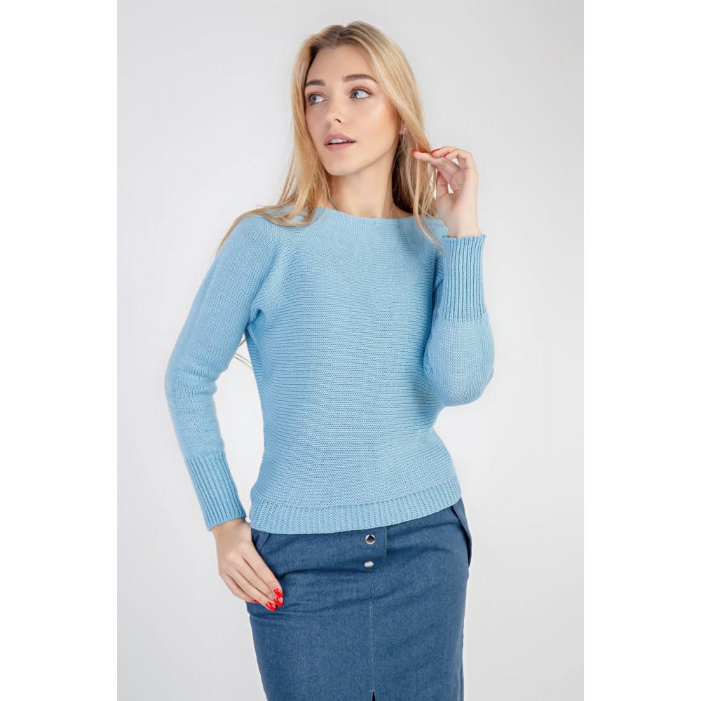 Красивый вязаный джемпер голубого цвета фото 1