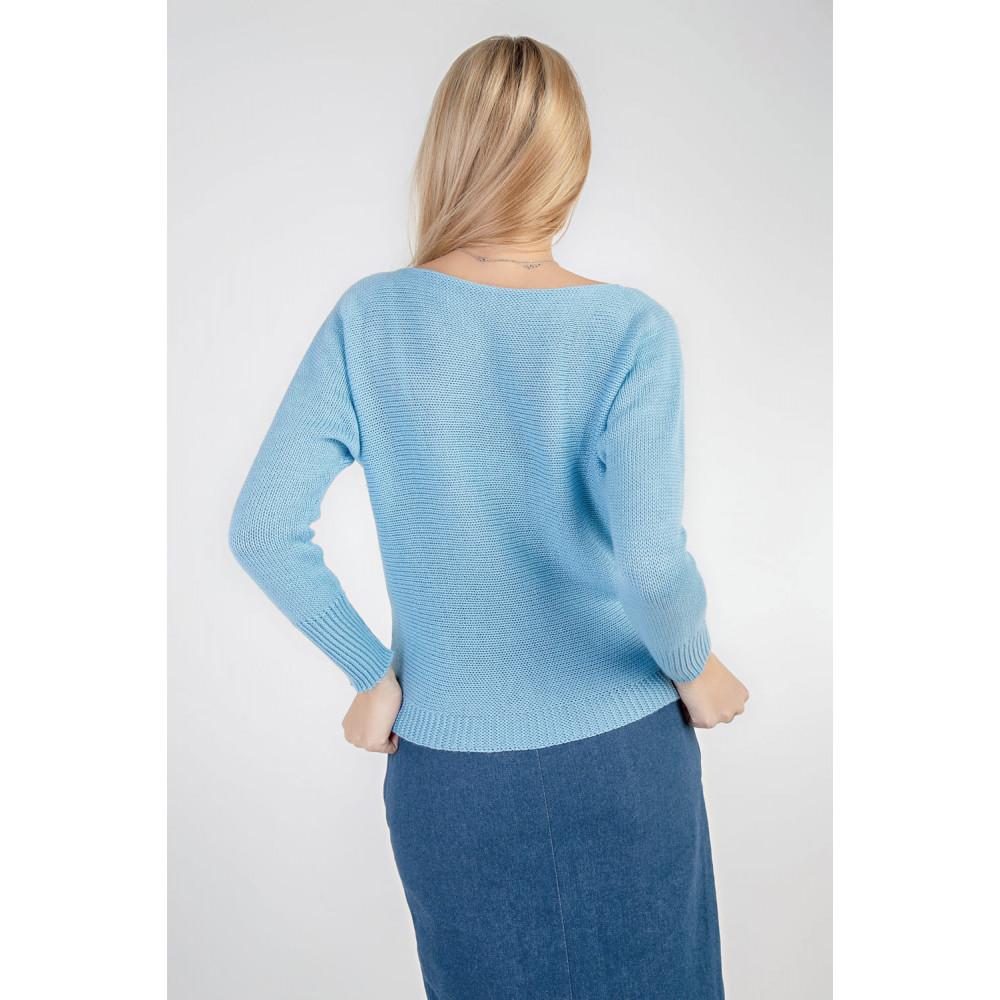 Красивый вязаный джемпер голубого цвета фото 4