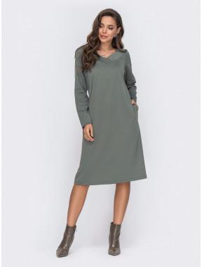 Оливковое платье с V-вырезом Рита
