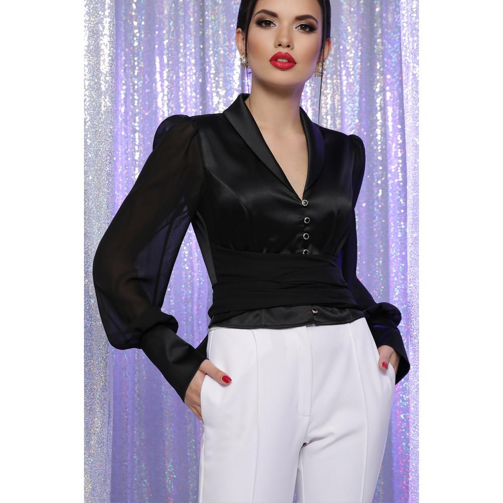 Атласная черная блузка Аврил фото 1