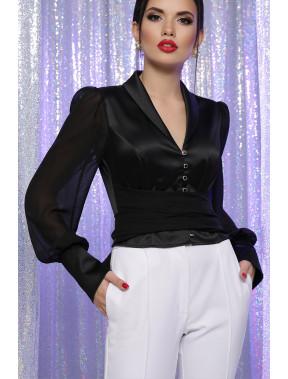 Атласна чорна блуза Авріл