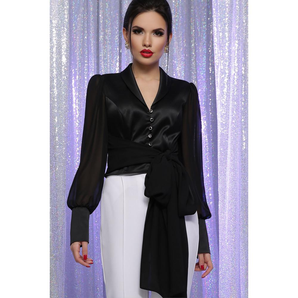 Атласная черная блузка Аврил фото 2