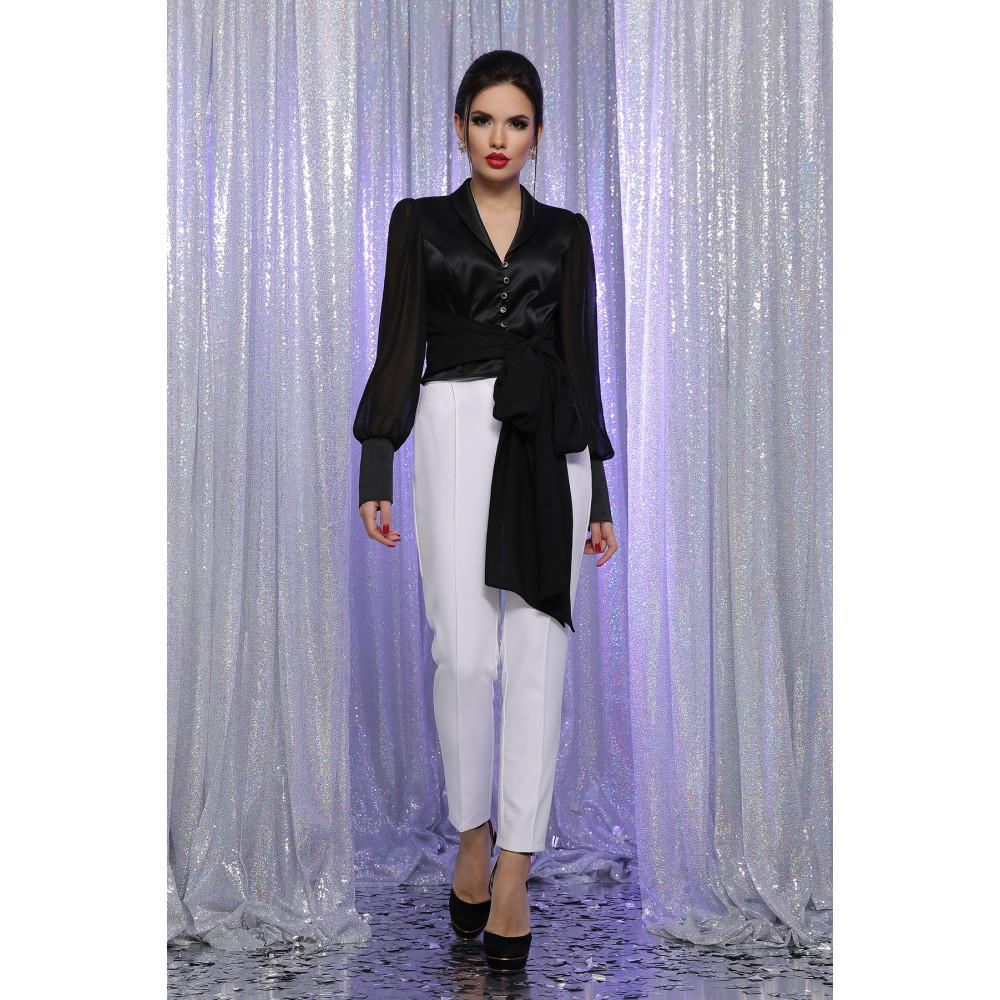 Атласная черная блузка Аврил фото 3