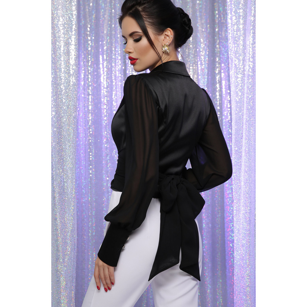 Атласная черная блузка Аврил фото 4