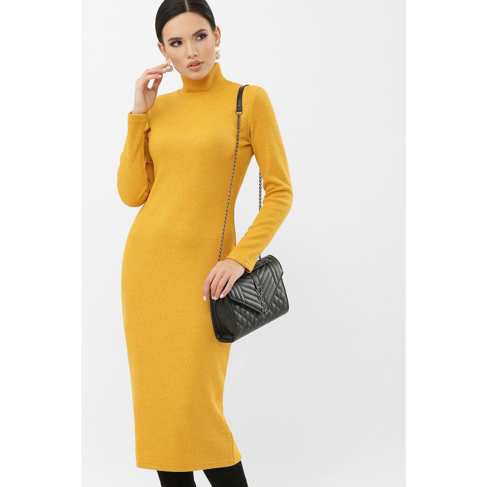 Горчичное платье из трикотажа Ульрика фото 2