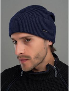 Синя чоловіча шапка Лофт з манжетом