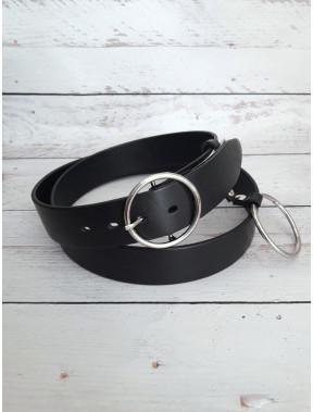 Модный черный ремень с кольцом