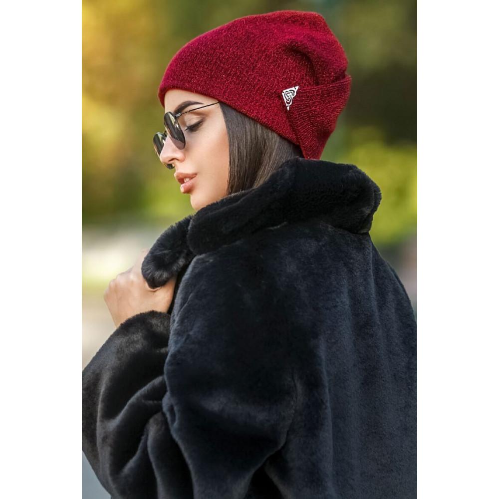 Интересная двойная шапка с люрексом Энни фото 1