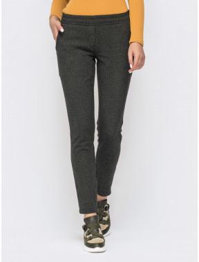 Теплые брюки в геометричный принт