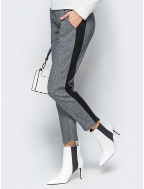 """Черно-белые брюки в принт """"елочка"""""""