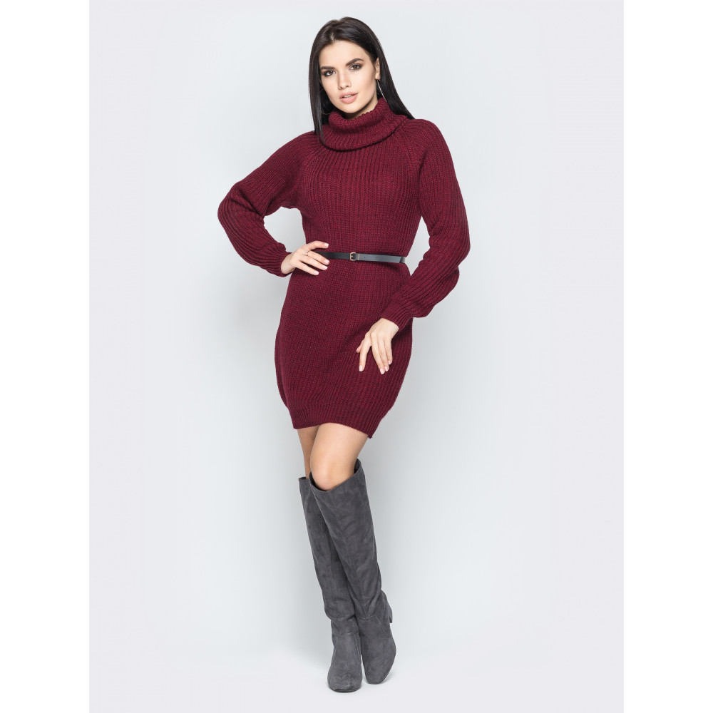 Бордовое вязаное платье вязаное Adel фото 1