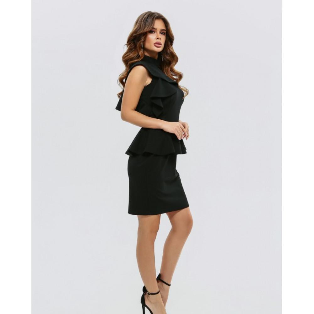 Коктейльное платье-футляр с баской фото 2
