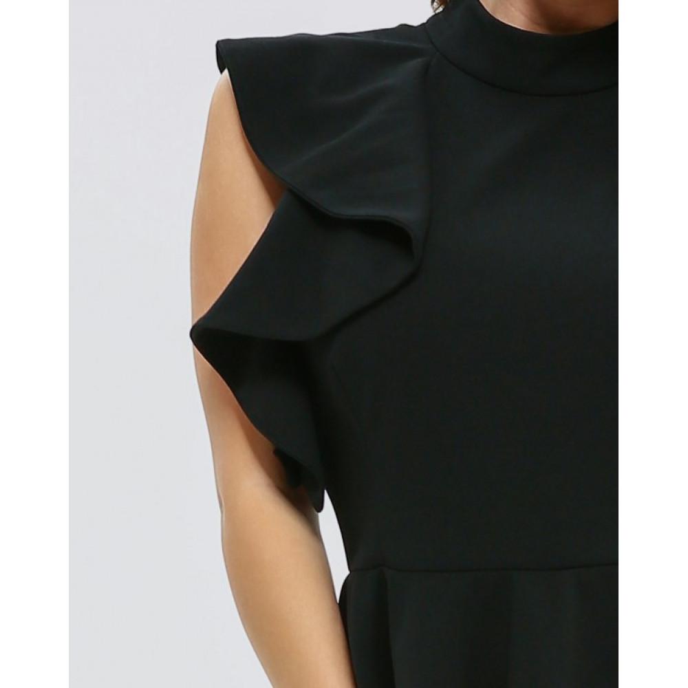 Коктейльное платье-футляр с баской фото 4
