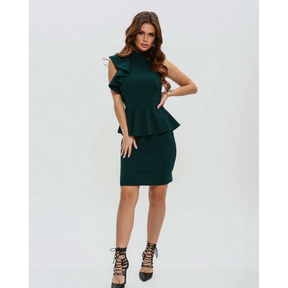 Изумрудное платье-футляр с баской фото 1