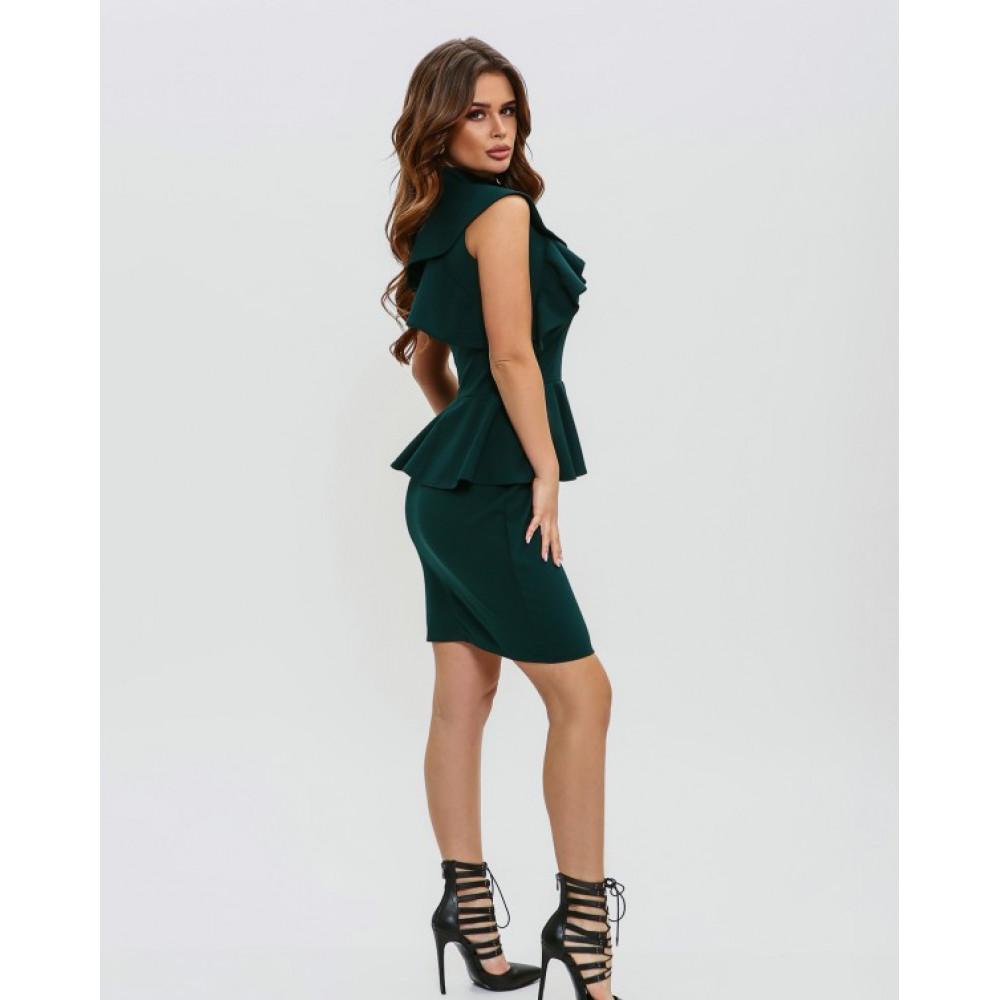Изумрудное платье-футляр с баской фото 2