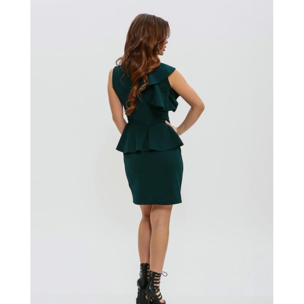 Изумрудное платье-футляр с баской фото 3