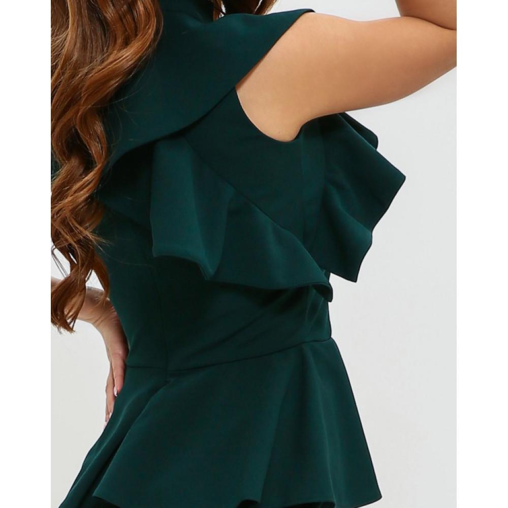 Изумрудное платье-футляр с баской фото 4